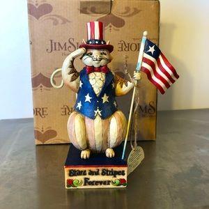 """Jim Shore """"Stars & Stripes Salute"""" MIB cat salutes"""